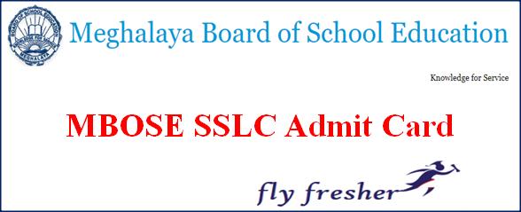 MBOSE SSLC Admit Card