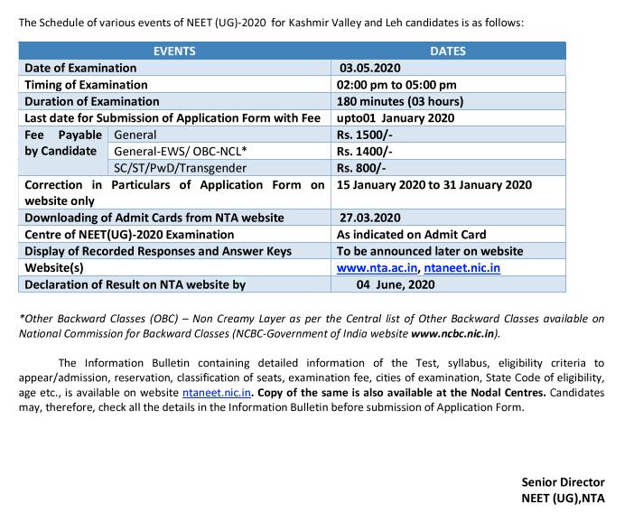Neet Ug Notification 2020 Download Nta Neet Application Form Apply Ntaneet Nic In