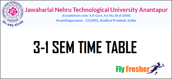 JNTUA-3-1-Time-Table, JNTUA-3-1-Time-Table-2021